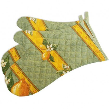Oven gloves, green printed cotton Citron