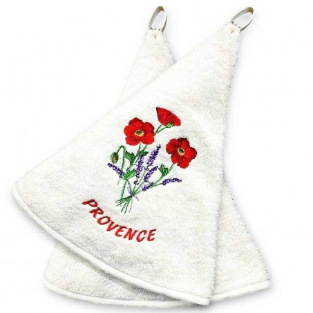 Hanging hand towels ecru with Coquelicots embroidery