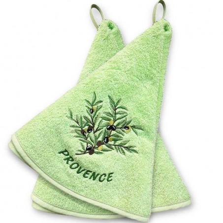 Essuie main rond en éponge, couleur vert, motif Olives (x2)