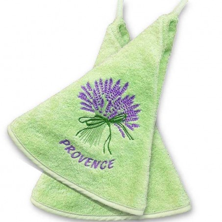 Bathroom hand towels green, with Lavender decor (x2)