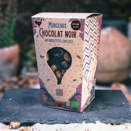 Organic dark chocolate and hazelnuts