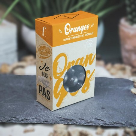 Organic candied oranges coated with 74% dark chocolate