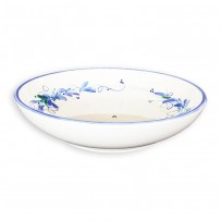 blue and white soup plate