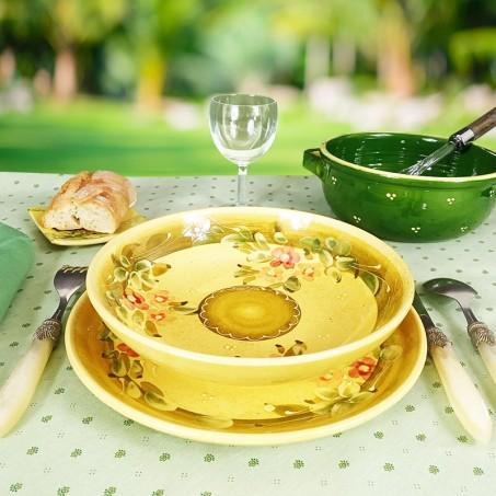 Assiette ronde creuse fleurie