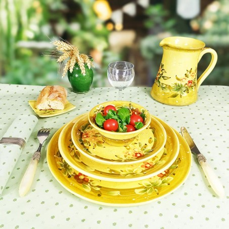 Very large dinner plates with floral decor