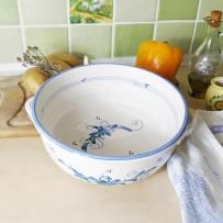 plat creux rond de service blanc bleu