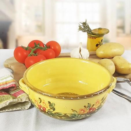 grand plat de service en terre cuite rond