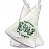 hand towels (x2), embroidery Huile d'olive color ecru