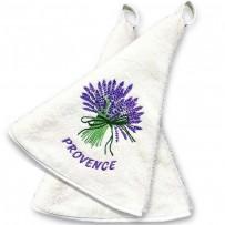 Bathroom hand towels (x2), with Lavender decor color ecru