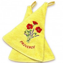 Hanging hand towels (x2), Coquelicots embroidery color yellow
