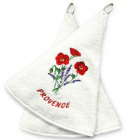 Hanging hand towels (x2), Coquelicots embroidery color ecru