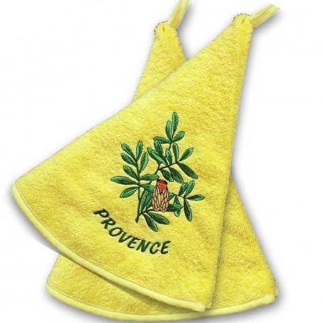 Essuie main rond eponge (x2), broderie Cigale jaune