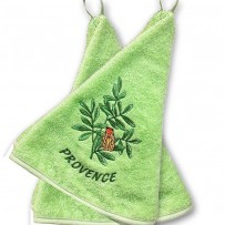 Decorative towels terry cotton(x2), Cigale embroidery color green