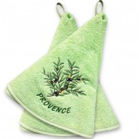 Decorative hand towels (x2), terry cotton, Olives color green