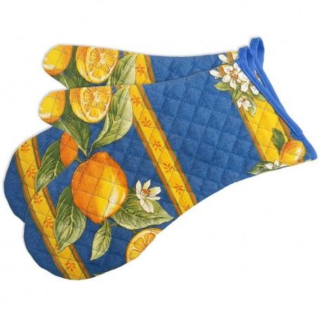 Oven gloves, printed cotton Citron blue