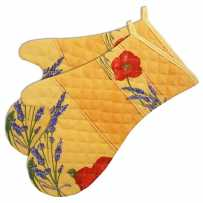 Oven mitts, cotton printed Coquelicots yellow