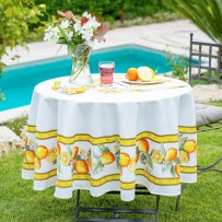 Provencal Cotton tablecloths white, round shape, Printed Citron