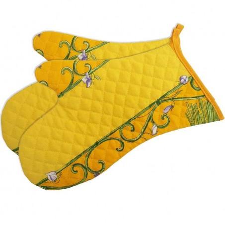 Gants de cuisine matelassé, imprimé Bouquet de lavandes jaune