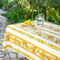 French country tablecloth, Citron print  color white