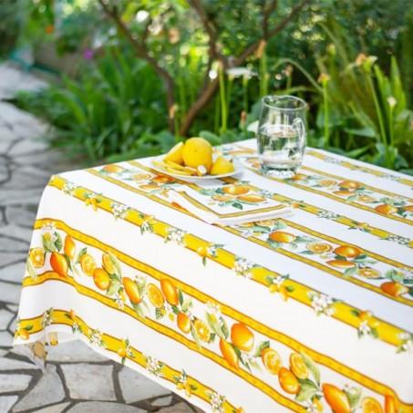 Nappe blanche rectangulaire, imprimé Citron
