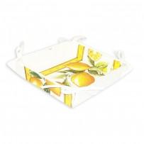 Vide poches en tissu, imprimé provençal Citron blanc