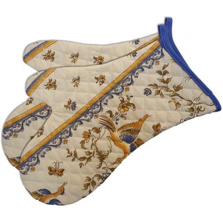 Gants de cuisine matelassé, imprimé Moustiers bleu