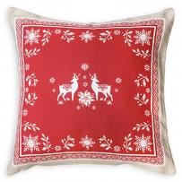 Housse de coussin rouge Vallée pour Noël