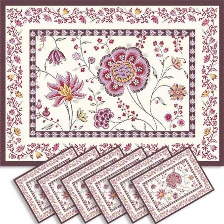 Sets de table rectangulaire, tissé Jacquard Montespan violet
