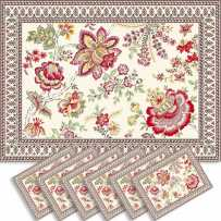 Dining table mats Jacquard woven Garance, Marat d'Avignon red