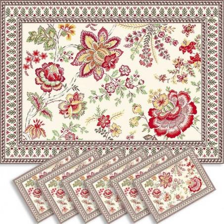 Sets de table rectangulaire, tissé Jacquard Garance rouge