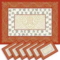 Sets de table rectangulaire, tissé Jacquard Aubrac orange