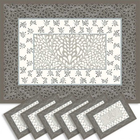 Sets de table rectangulaire, tissé Jacquard Aubrac taupe