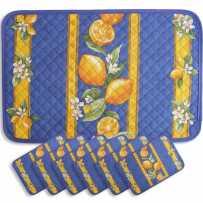 Sets de table matelassé, imprimé Citron bleu