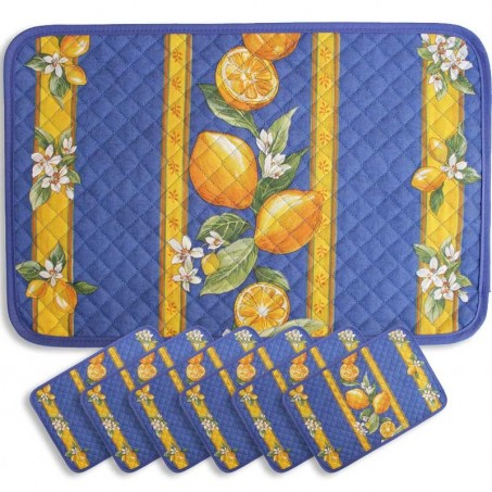placemats print Citron blue