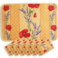 Kitchen table placemats Coquelicots yellow