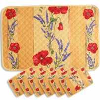 Sets de table matelassé, imprimé Coquelicots Lavandes jaune