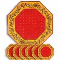 Sets de table octogonal matelassé, imprimé Calissons Fleurettes rouge jaune