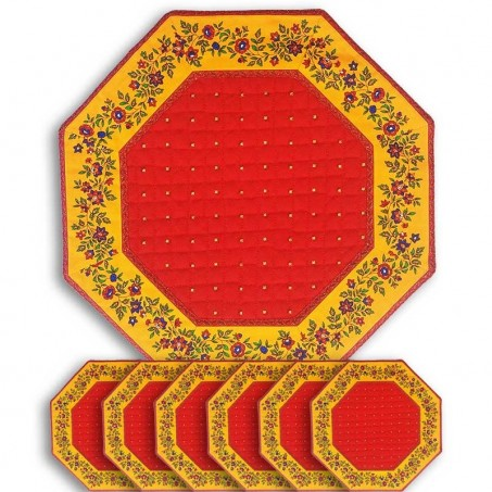 Table mats octagonal Calissons Fleurette red yellow