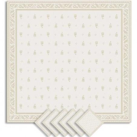 Serviettes de table carrées, tissé Jacquard Durance écru
