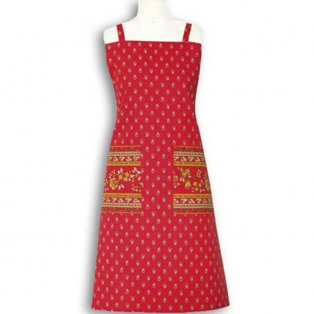Kitchen apron Avignon print by Marat d'Avignon red