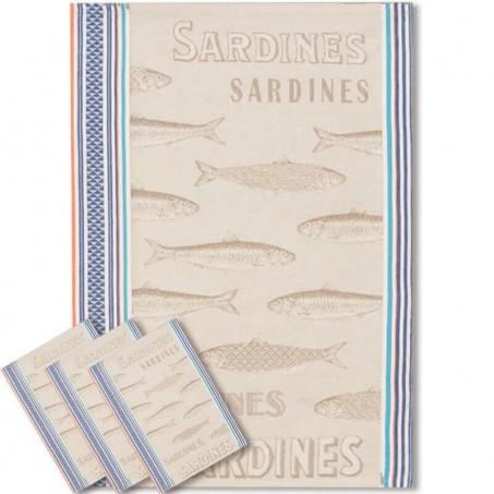 Tea towel woven Jacquard, decor Sardine