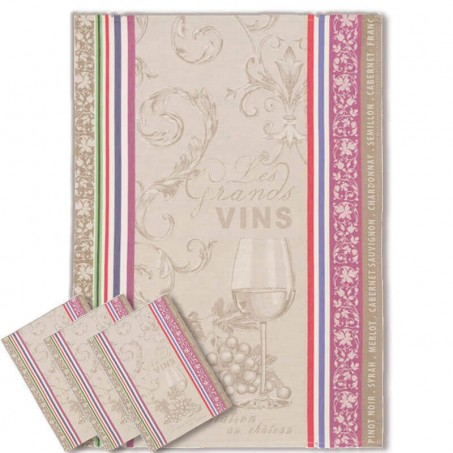 Tea towel kitchen, Jacquard pattern Vignoble
