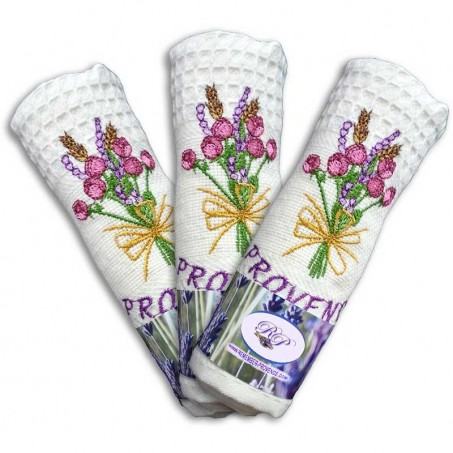 Torchons de cuisine nid d'abeille en coton, imprimé Rose et Lavande coloris écru