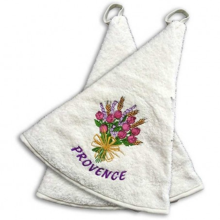 Round terry towel (x2), embroidered decoration Roses color ecru