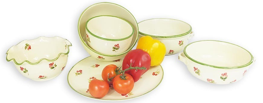 Serving dishes and ceramic dishware from appetizer to dessert