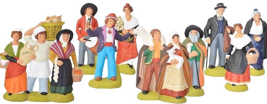 Lots de santons provençaux et accessoires de crèche de noel fait main